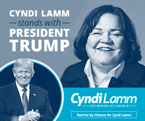 A campaign ad that says Cyndi Lamm stands with President Trump